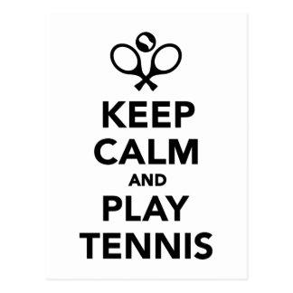 Guarde el tenis de la calma y del juego postal