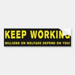 Guarde el trabajar de Obama anti Bumpersticker Etiqueta De Parachoque