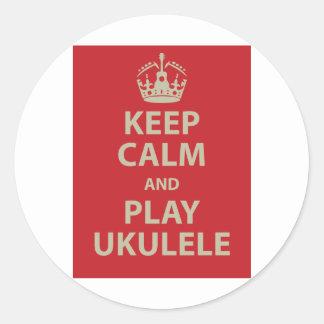 Guarde el Ukulele de la calma y del juego Pegatina Redonda
