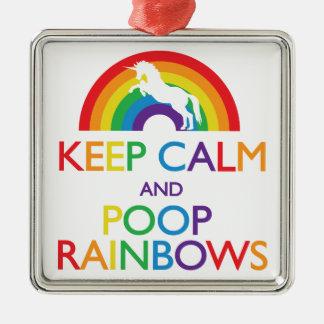 Guarde el unicornio de los arco iris de la calma y adorno navideño cuadrado de metal