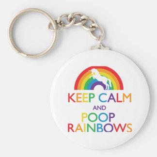 Guarde el unicornio de los arco iris de la calma y llavero redondo tipo pin