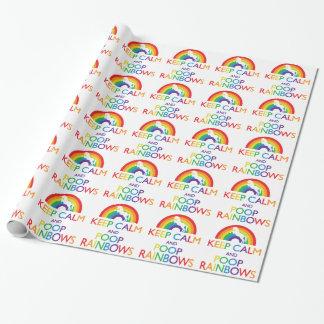 Guarde el unicornio de los arco iris de la calma y papel de regalo