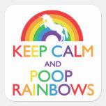 Guarde el unicornio de los arco iris de la calma y pegatina cuadradas personalizadas