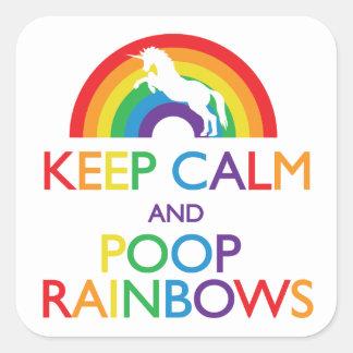 Guarde el unicornio de los arco iris de la calma y pegatina cuadrada