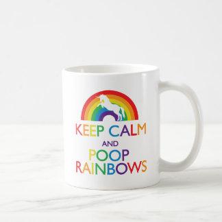 Guarde el unicornio de los arco iris de la calma y taza
