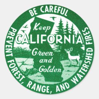 Guarde el verde de California + De oro Pegatina Redonda