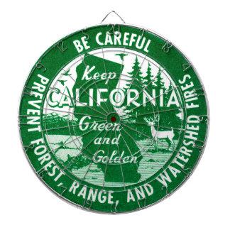 Guarde el verde de California y de oro Tablero Dardos