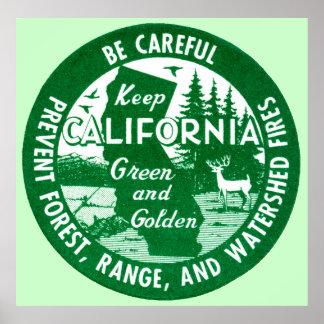 Guarde el verde de California y de oro Impresiones