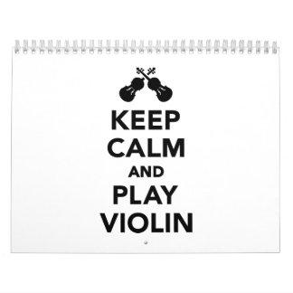 Guarde el violín de la calma y del juego calendarios