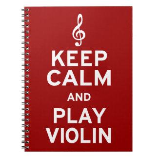 Guarde el violín de la calma y del juego libreta
