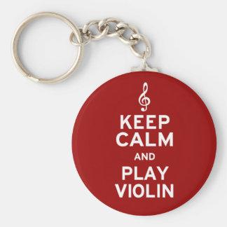Guarde el violín de la calma y del juego llavero redondo tipo pin