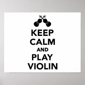 Guarde el violín de la calma y del juego posters