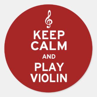 Guarde el violín de la calma y del juego pegatina redonda