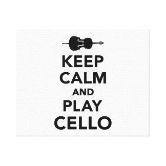 Guarde el violoncelo de la calma y del juego lona estirada galerias