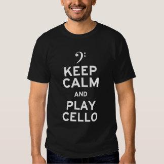 Guarde el violoncelo de la calma y del juego playeras
