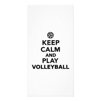 Guarde el voleibol de la calma y del juego tarjeta fotografica personalizada
