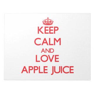Guarde el zumo de manzana de la calma y de amor blocs