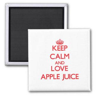 Guarde el zumo de manzana de la calma y de amor iman de nevera