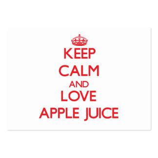 Guarde el zumo de manzana de la calma y de amor tarjeta de visita