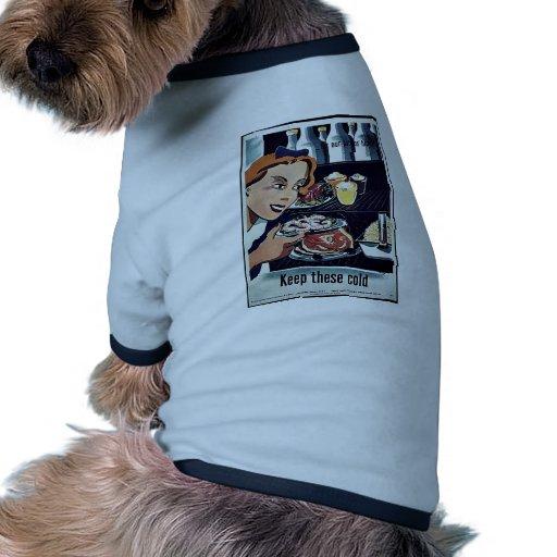 Guarde este frío camiseta con mangas para perro
