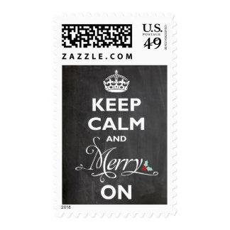 Guarde feliz tranquilo en saludos del día de timbre postal