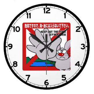 Guarde hacia fuera la charca, muestra japonesa reloj redondo grande