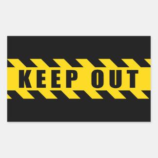 Guarde hacia fuera la policía aventuran rayas pegatina rectangular