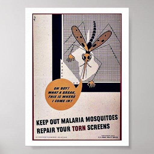 Guarde hacia fuera los mosquitos de malaria repara impresiones