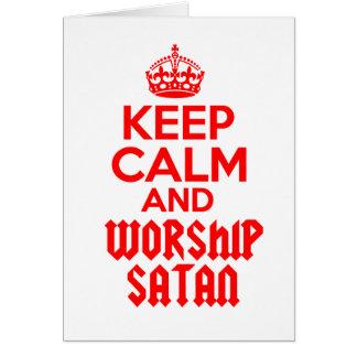 Guarde la adoración tranquila Satan Tarjeta De Felicitación