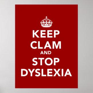 Guarde la almeja y pare la dislexia póster