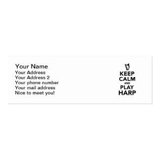 Guarde la arpa de la calma y del juego tarjeta de visita