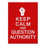 Guarde la autoridad de la calma y de la pregunta, invitación 12,7 x 17,8 cm