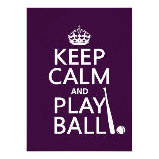 """Guarde la bola de la calma y del juego (béisbol) invitación 5.5"""" x 7.5"""""""