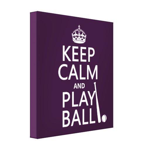 Guarde la bola de la calma y del juego (béisbol) ( lona envuelta para galerías