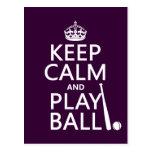 Guarde la bola de la calma y del juego (béisbol) ( tarjetas postales