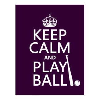 Guarde la bola de la calma y del juego béisbol tarjetas postales