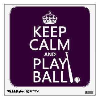 Guarde la bola de la calma y del juego (béisbol) vinilo decorativo