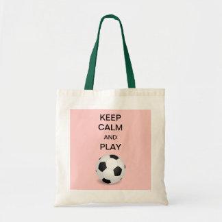 Guarde la bolsa de asas del fútbol de la calma y