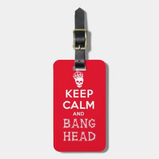 ¡Guarde la cabeza de la calma y de la explosión!! Etiquetas Para Equipaje