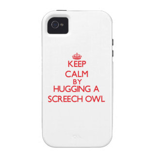 Guarde la calma abrazando un búho de chillido iPhone 4 fundas