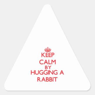 Guarde la calma abrazando un conejo colcomanias triangulo