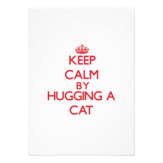 Guarde la calma abrazando un gato comunicado personal