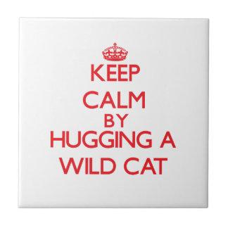 Guarde la calma abrazando un gato salvaje tejas  cerámicas