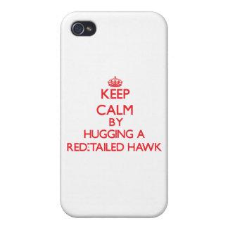 Guarde la calma abrazando un halcón Rojo-Atado iPhone 4 Carcasa