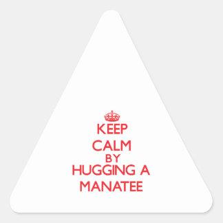 Guarde la calma abrazando un Manatee Pegatinas Triangulo