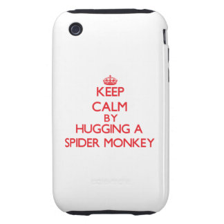 Guarde la calma abrazando un mono de araña tough iPhone 3 protectores