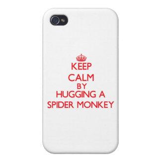 Guarde la calma abrazando un mono de araña iPhone 4 funda