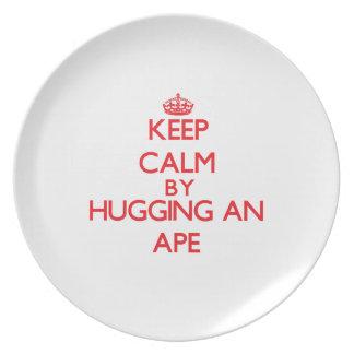 Guarde la calma abrazando un mono platos