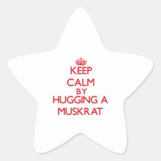 Guarde la calma abrazando un Muskrat Pegatinas Forma De Estrellaes Personalizadas