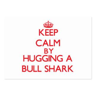Guarde la calma abrazando un tiburón de Bull Plantilla De Tarjeta De Visita